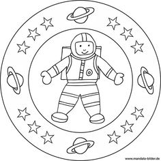 Mandala and coloring page - astronaut in outer space - Cute Coloring Pages, Coloring Books, Bump Ahead, Astronauts In Space, Galaxy Art, Star Wars Party, Tag Art, Outer Space, Activities For Kids