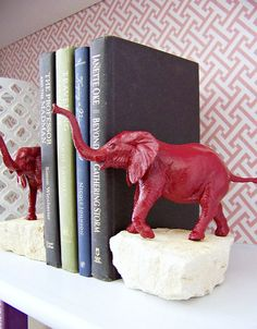DIY Bookends - I should make this with a stone and a succulent planted in it!