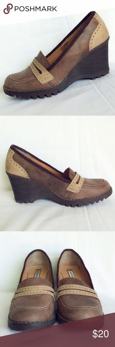 """SALESkechers Wedge Shoes Super light and comfortable. Warm brown combination colors. 3"""" wedge heel, true to size. Normal wear and tear, in general really good condition. Skechers Shoes Wedges"""