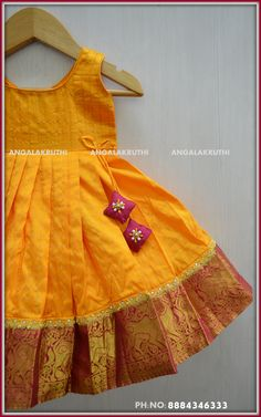 Pavada designs by Angalakruthi boutique Bangalore Kids Party Wear Dresses, Kids Dress Wear, Kids Gown, Dresses Kids Girl, Girl Outfits, Baby Dresses, Kids Wear, Girls Frock Design, Kids Frocks Design