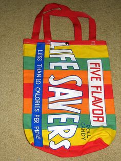 Life Savers Candy Pop Culture Vtg Tote Bag Advertisement Go Green 100% Cotton