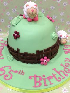 Birthday cake for a lady who keeps sheep.
