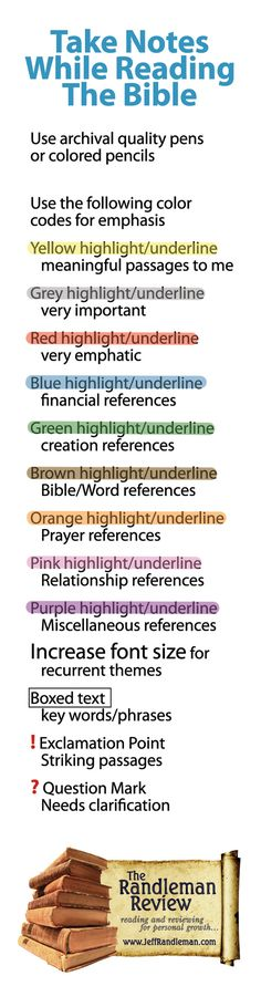 How To Take Notes While Reading The Bible --- Has a bookmark that outlines colors
