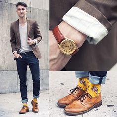 Armani Exchange  Raw Denim Jeans, Richer Poorer  Socks, Buffalo Jeans Shirt, Casio Watch, Aldo Shoes, Zara Blazer