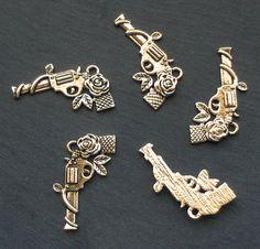 GUN Charms x 5 Guns and Roses tibetan silver style by beadingshaz, £1.40