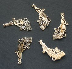 GUN Charms x 5 Guns and Roses tibetan silver style by beadingshaz, £1.40