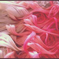 Ombre Hair Dip Dye Ombre Hair  Pink Cotton by NinasCreativeCouture, $225.00