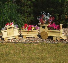 Planter Plans | Planter Woodworking Plans - Train Planter Wood Project Plan