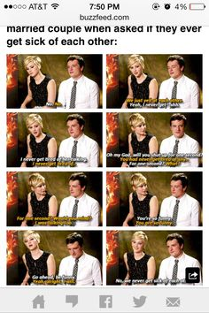 When asked if they get sick of each other..cuteeee
