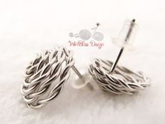 Wire wrapped rose studs by WireBliss with stainless steel wire  No soldering involved