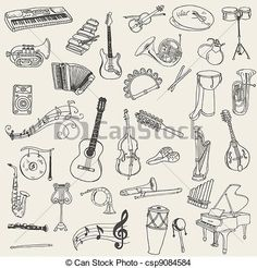 line drawings of musical instruments on kraft paper for back wall- add some color? maybe?