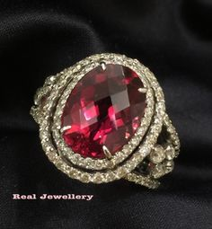 Red Tourmaline with diamonds ring。Real Jewellery。