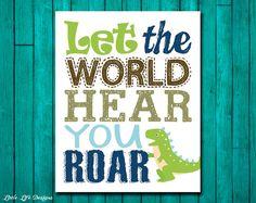 Let the World Hear You ROAR. Dinosaur Wall Art. Little Boys Wall Decor by LittleLifeDesigns