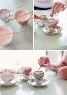 DIY Ideas and Crafts to Make and Sell, Candles in Tea Cups Teacup Candles, Diy Candles, Ideas Candles, Candle Wax, Homemade Candles, Crafts To Make And Sell, Diy And Crafts, Sell Diy, Diy Projects You Can Sell