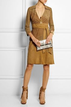 Part of the DVF Wrap Shop Tan, camel and light-brown suede Ties at front