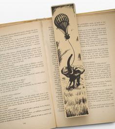 Five Weeks in Baloon Bookmark, the adventure novel from Jules Verne about friends traveling across the African continent in baloon filled with hydrogen Adventure Novels, My Bookmarks, Book Markers, Jules Verne, Classic Literature, Book Art, Handmade Gifts, Books, Traveling