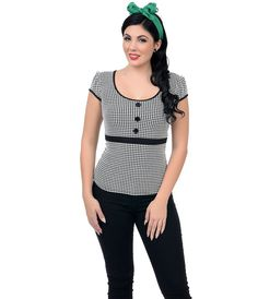 Black & White Houndstooth #Rockabilly Top #uniquevintage