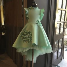 Shop Mint green short long gown Online For Kids - Curious Village Gowns For Girls, Frocks For Girls, Girls Dresses, Baby Girl Party Dresses, Little Girl Dresses, Flower Girl Dresses, Kids Frocks Design, Kids Gown Design, Cute Short Dresses