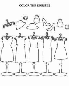 Free printable worksheets for preschool, Kindergarten, 1st, 2nd, 3rd, 4th, 5th grades. Coloring Pages- Dresses.
