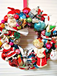 Shiny and Bright Vintage Christmas Wreath.. Etsy