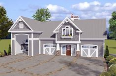 Garage Plan 74841 | Craftsman Plan with 1240 Sq. Ft., 1 Bedrooms, 2 Bathrooms, 3 Car Garage