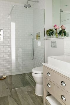 Explore Small Basement Bathroom Cabin Bathrooms and more! Bathroom Update Ideas: to update a fibreglass walk in shower with mosaic tile Small Basement Bathroom, Cabin Bathrooms, Wood Bathroom, Bathroom Layout, Bathroom Ideas, Bathroom Renovations, Vanity Bathroom, Bathroom Designs, Budget Bathroom
