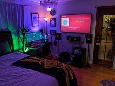 my cozy college station (now w/ managed cables) Gamer Bedroom, Bedroom Setup, Room Design Bedroom, Small Room Bedroom, Room Ideas Bedroom, Small Room Design, Game Room Design, Small Game Rooms, Chill Room
