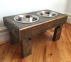 "reclaimed elevated pallet dog bowl stand pet feeding station with 2 brand new stainless steel bowls. 21"" L X 11"" W X 11"" T by Kustomwood on Etsy"