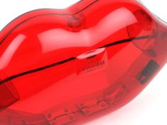 Lulu Guinness Neon Red Perspex Lips Clutch available on maisondesacs.com