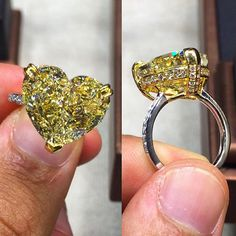 """Love this Ring!! A perfect 12.91ct Heart Shape, Fancy Yellow (TOP COLOR) VS2…"