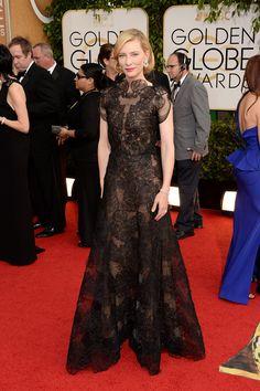 Oda a las transparencias. La que hace Cate Blanchett, ganadora del Globo de Oro 2014 a Mejor Actriz por Blue Jasmine, con su vestido de Armani.