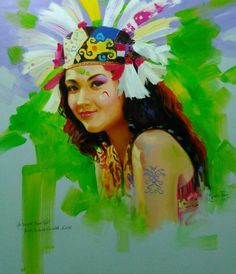A Dayak Iban Girl from Indonesia with Love, original oil painting, 80x70 cm. Yasin Tiar, artist