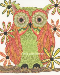 Whimsical Owl Painting Archival Print 5 x 7  by breanneholden, $14.00