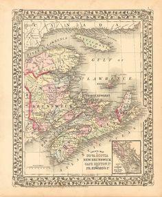 Anne's Prince Edward Island - Nova Scotia New Brunswick Mitchell 1874 World by DesignerMapPrints