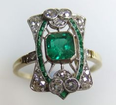 Art Nouveau Emerald and Diamond Ring