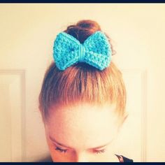 Crochet Bow on a top knot, Sky Blue, on Etsy