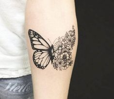 Butterfly with Flowers tattoo by Kristie Yuka