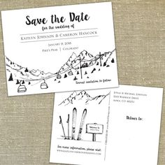 Ski Skyline set of 55 Save the dates with by PixieChicago on Etsy