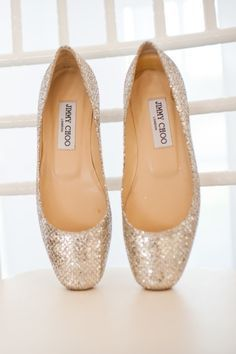 Metallic Jimmy Choo ballet flats...really cute wedding shoes