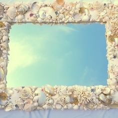 Artisan handmade opulent luxury seashell mirror, includes corals and specimen shells. Available in CUSTOM SIZES and made to your specifications. Coastal Mirrors, Shell Mirrors, Coastal Decor, Beach Mirror, Nautical Mirror, Beach Grass, Watercolor Sea, Custom Mirrors, Corals