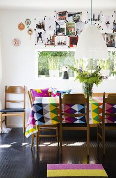 Colorful and comfortable dining space.