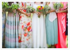 bold and bright colored bridesmaid dresses. Love that it's casual, down-home, country. And DEFINITELY dresses they will be able to wear again later. No sense asking my girls to spend $100+ on a dress they wear once.
