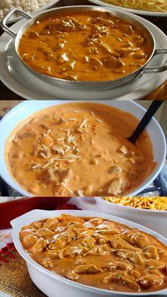 AMEI FAZER ESSA DELICIOSA RECEITA DE STROGONOFF DE CARNE (VEJA AQUI) #receitas #massas #carnes #frango #srogonoff #strogonoffdecarne #almoco Chili, Food And Drink, Soup, Ethnic Recipes, Kitchen, Roast Recipes, Beef Recipes, Easy Healthy Recipes, Delicious Recipes