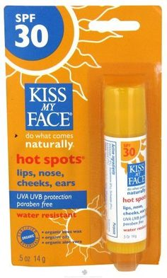 Kiss My Face Organic Sunscreen Hot Spots 30 SPF - 0.5 Oz, 12 pack (image may vary) by Select Nutrition. $82.07. Quantity: BULK PACK OF 2 packs. Each pack contains 6 units. Multi-Pack Package Quantity 12 UNITS Description: HOT SPOTS,SPF 30 . (In case of confusion on contents of this multi-pack - please email seller).. Hot Spots SPF30. This is perfect for all those delicate facial areas that need protection from the sun - ears, brow, lips, nose, cheeks. Made with 52% certified org...