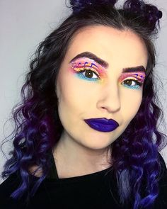 Bright makeup halo makeup helix makeup purple makeup purple hair https://instagram.com/p/BSZEyGPFRT8/