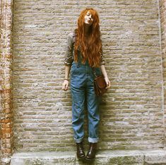Nadia Esra - Old Bag, Oversized Denim Jumpsuit, Elf Sack Blouse, Boots - My hair gets long and summer ends