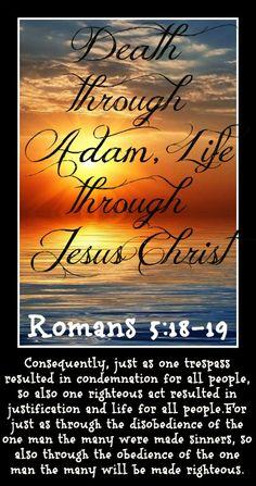 Death through Adam, Life through Jesus Christ#Bible  #BibleVerses  #Christianity  #Christian  #EncouragingWord  #Jesus  #InspirationalQuotes #SpiritualQuotes #Scriptures