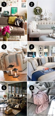 6 ways to style a couch with a throw blanket
