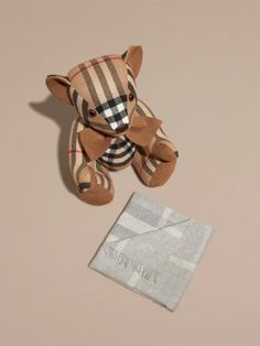 Check Cashmere Baby Blanket in Light Grey Melange | Burberry - cell image 2