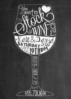 Stock the Bar, Stock the Wine Rack  chalkboard wedding shower printable invitation, digital file